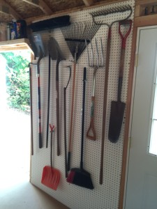 peg board used in garden shed
