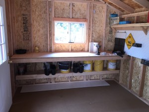 work bench in garden shed