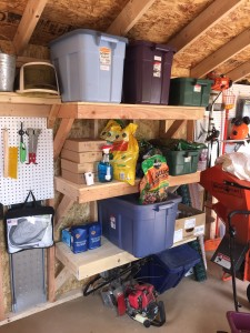 properly spaced shelves in garden shed